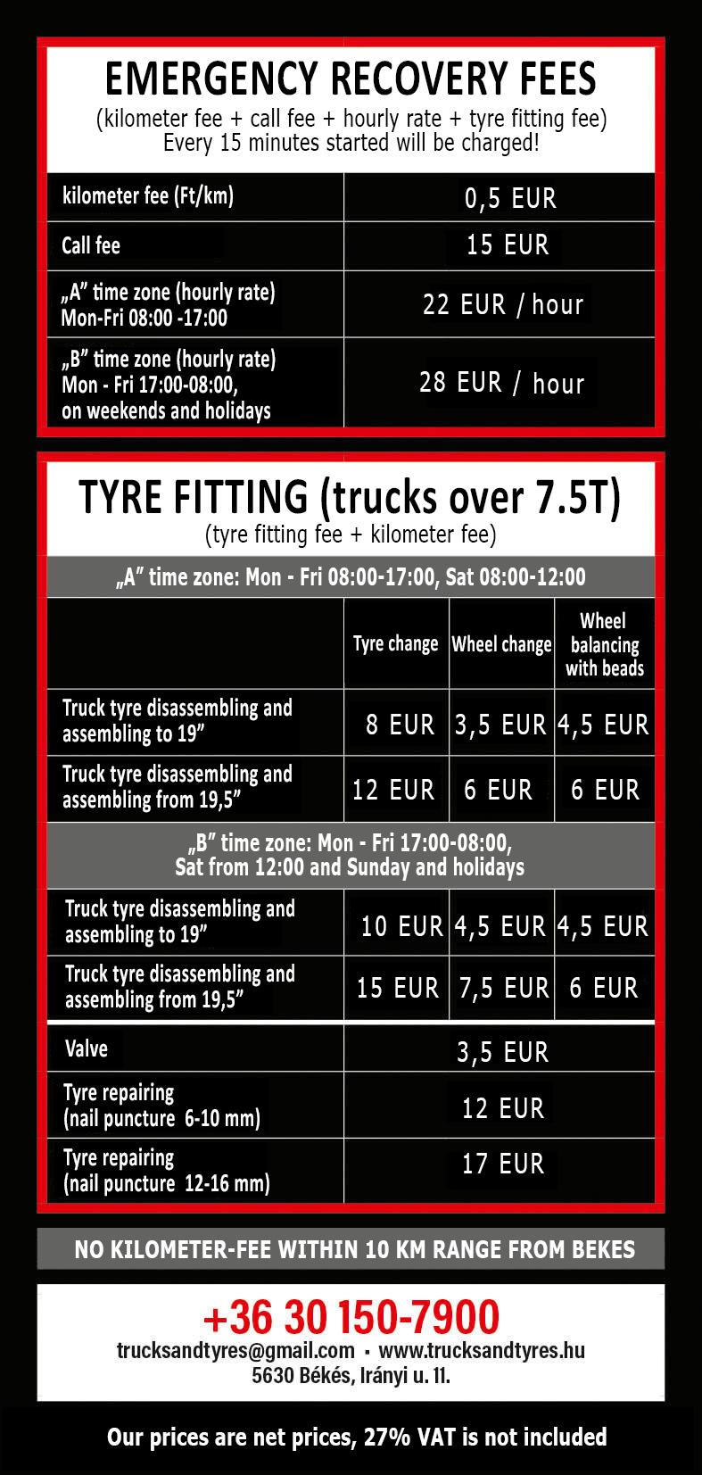 mobile tyre repair price